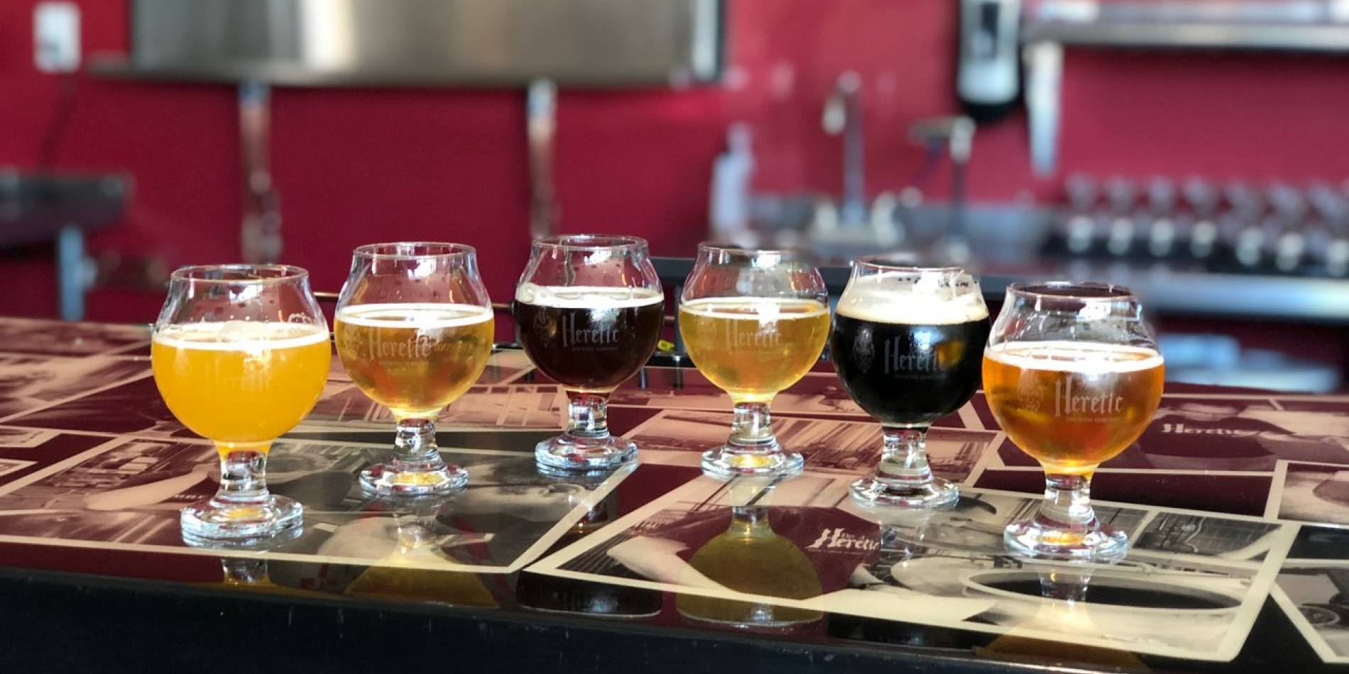 Heretic Brewing's taproom features 20 beers on tap and a full menu of delicious food
