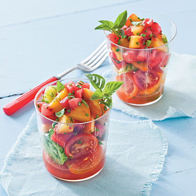 Watermelon-Peach Salsa and Tomatoes