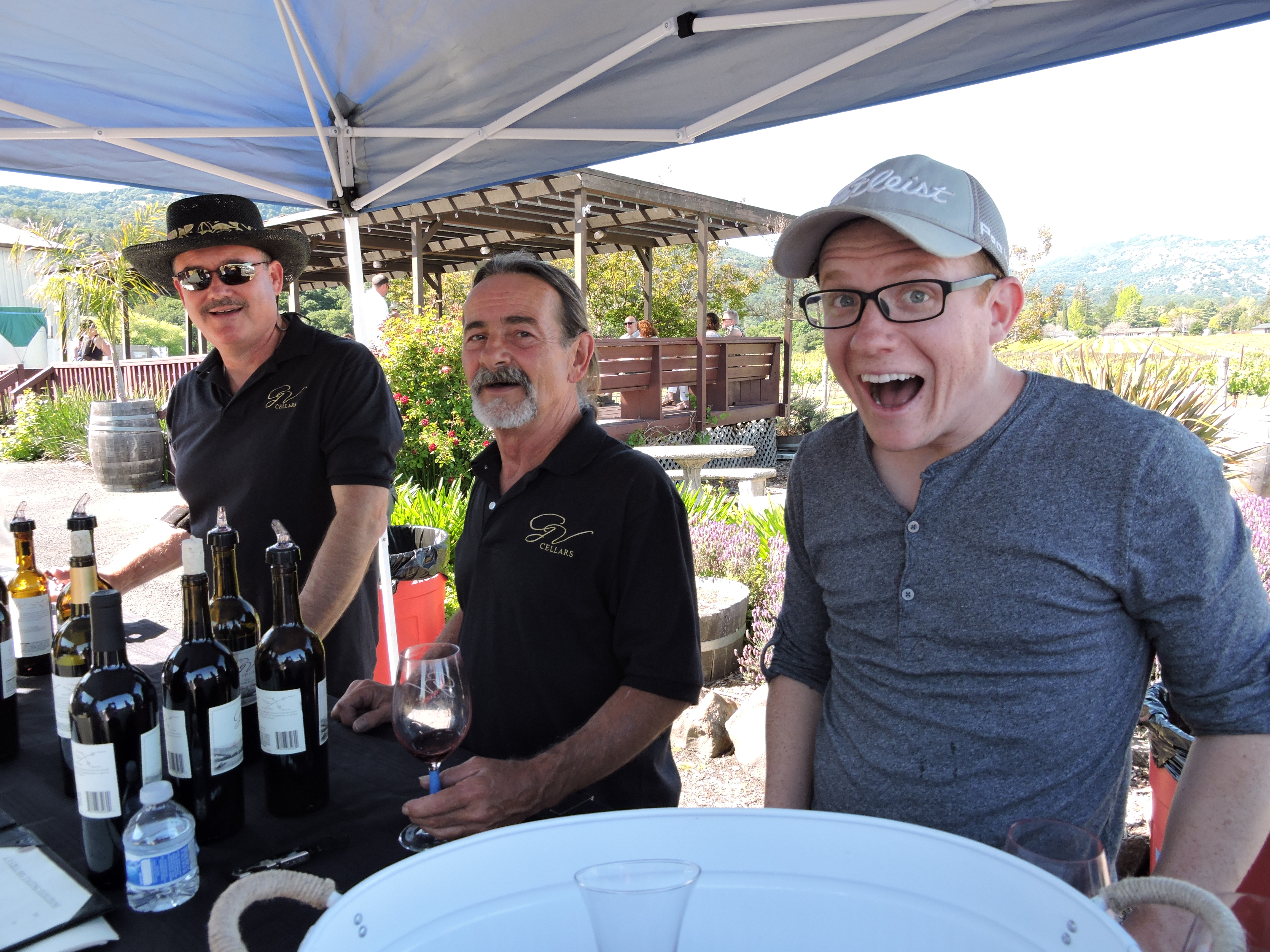 Check out the fun these guys were having pouring wine at G V Cellars in Green Valley