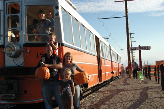 Visitors to the Western Railway Museum's Pumpkin Patch Festival
